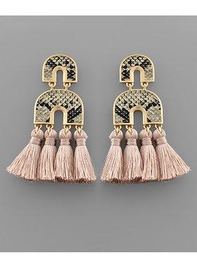 Golden Stella Arch leather & tassel earrings