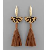 Golden Stella Animal print wedge & tassel earring