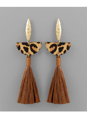 Golden Stella Animal print wedge & tassel earring