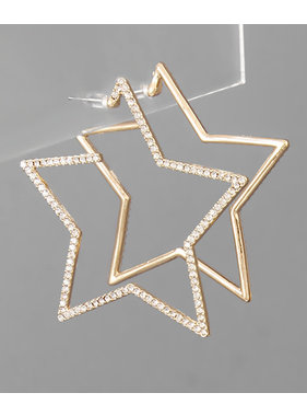 Golden Stella Crystal paved star open hoops
