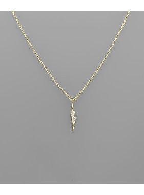 Golden Stella CZ Lightning necklace