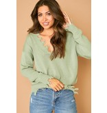 Peach Love California Frayed Pullover Sweater-KT33586