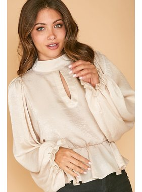 Peach Love California Mockneck Satin Woven Top-T81152
