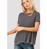 Trend:Notes Stripe Scalloped Top