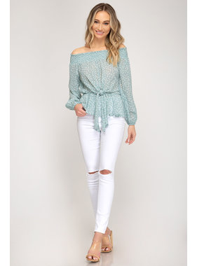 She + Sky L/s smocked off the shoulder top