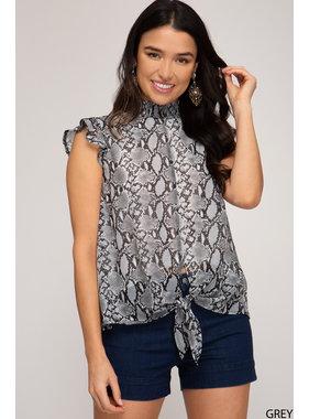 She + Sky Short ruffle sleeve woven animal print top