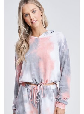 White Birch LA Cropped tie dye knit top