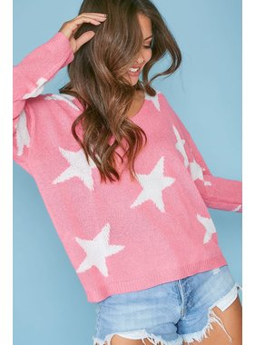 Peach Love California Star V-Neck sweater