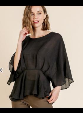 Umgee Kimono sleeve peplum top