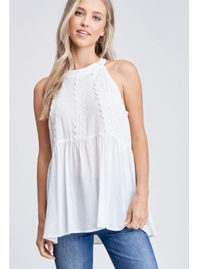 White Birch LA Mock neck top with lace detailing