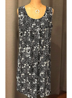 Bali Batiks Short tank dress w/ pleated neckline
