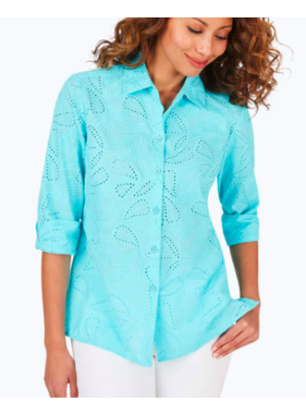 Foxcroft Morgan Tropical Embroidery Shirt