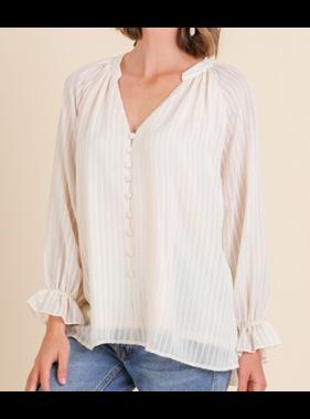Umgee Long ruffle sleeve split neck top - Cream