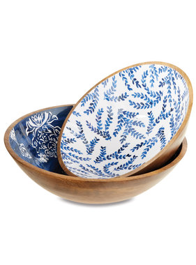 Mud Pie Small wood and enamel blue wood bowl