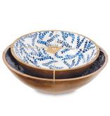 Mud Pie Small wood and enamel blue wood bowl