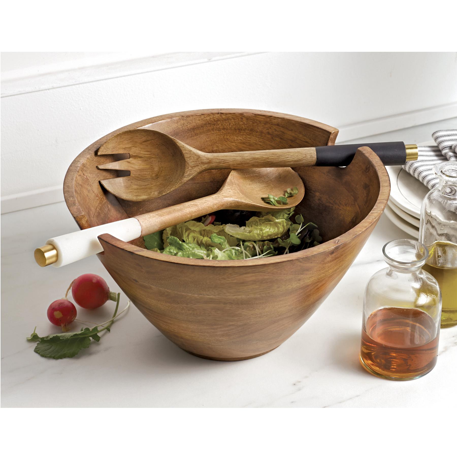 Mud Pie Wood bowl with server set