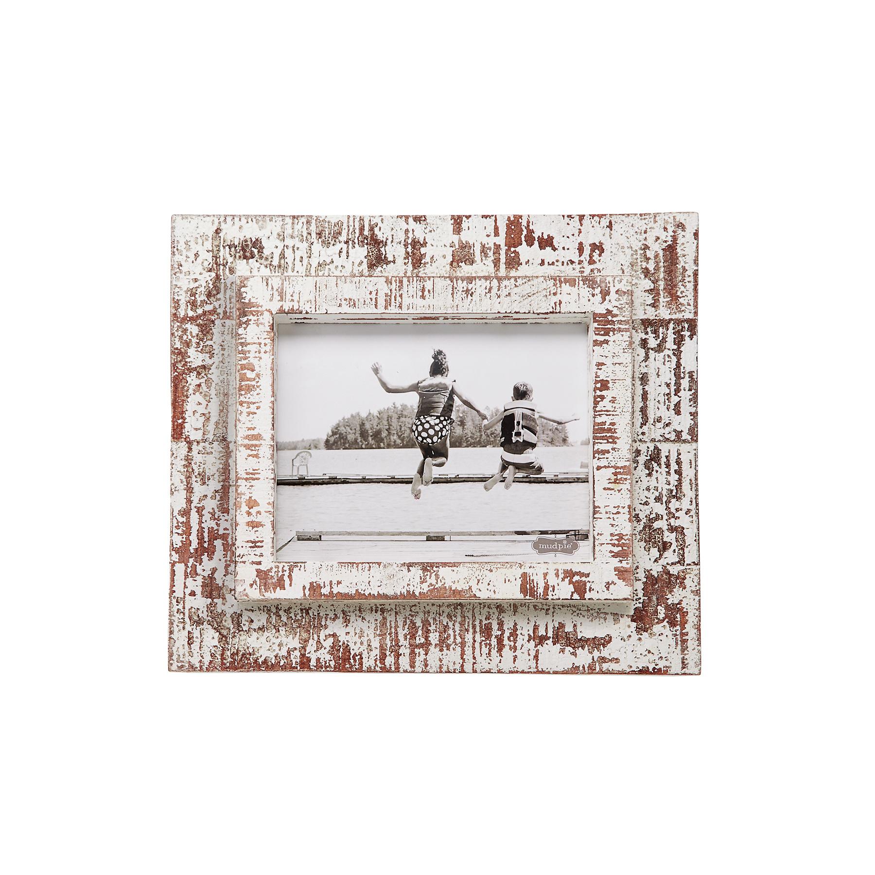 Mud Pie 8x10 white distressed frame
