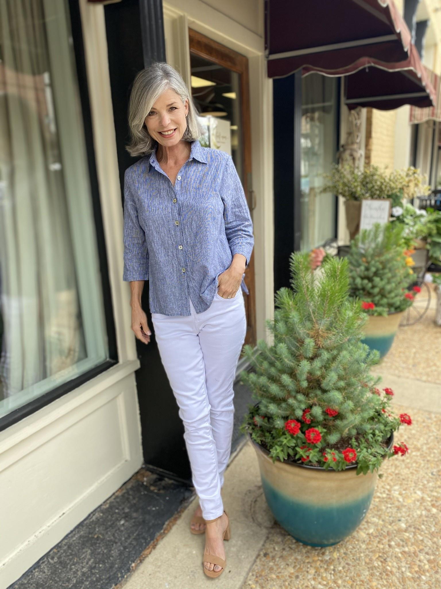 Mosaic Clothing Pinstripe Linen Shirt 590