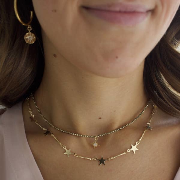 Katie Waltman 24kt Gold Plate Star Chain and Gold Link Layer Necklace