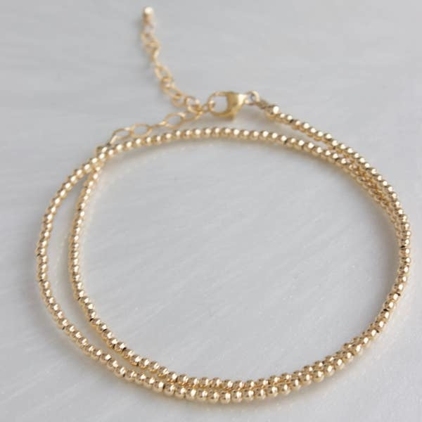 Katie Waltman 2 MM Gold Filled Double Wrap Bead Bracelet