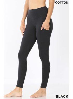 Zenana Black Pull-on Leggings with Pocket