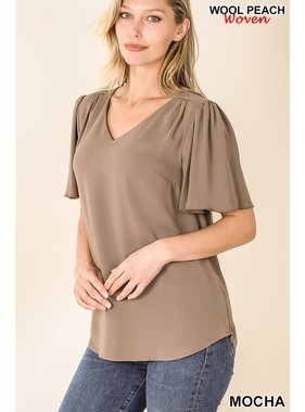 Zenana Woven Wool Waterfall Sleeve Top