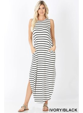 Zenana Striped Sleeveless Maxi with Pockets