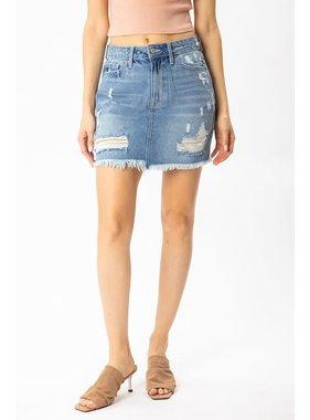 KanCan Bella Distressed Fray Hem Skirt