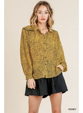 Umgee Animal Print Long Sleeve Button Front Collared Top