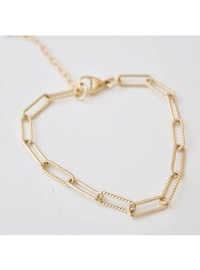 Katie Waltman 24kt gold plate elongated link chain bracelet