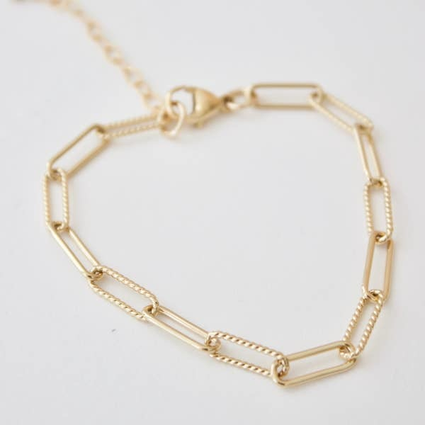 Katie Waltman 24kt gold plate elongated link chain bracelet