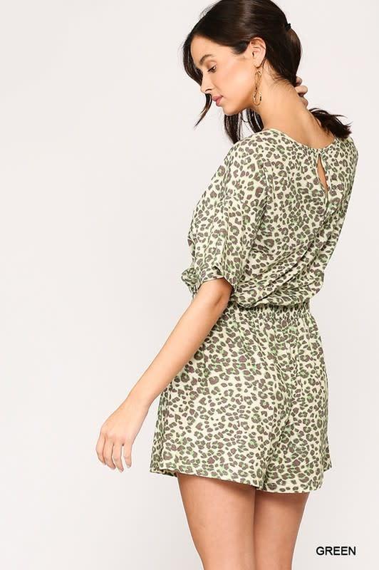 Gigio Leopard jersey elastic waist romper