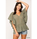Gigio Babydoll button down tunic with flutter sleeves