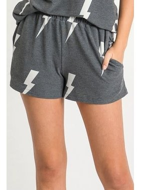 First  Love Lightening Print Shorts