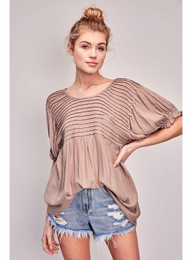 Mustard Seed Round Neck Tucking Detail Top