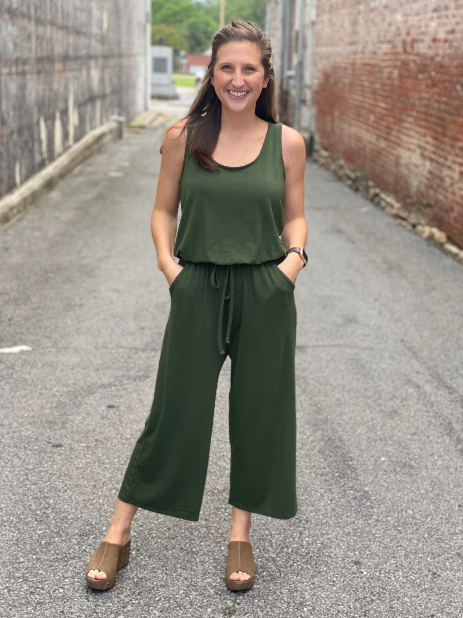 Zenana Army Green Jumpsuit