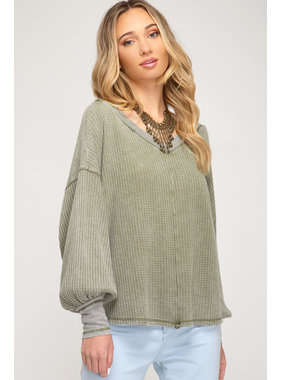 She + Sky Bubble sleeve waffle knit top