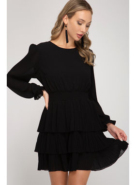 She + Sky L/S Woven Dress w/ pleated skirt