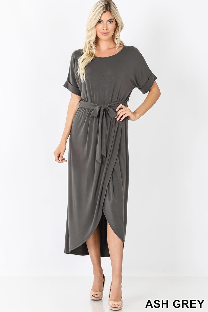 Zenana Belted Short Sleeve Tulip Dress