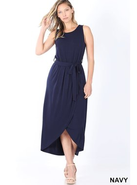 Zenana Belted Sleeveless Tulip Dress