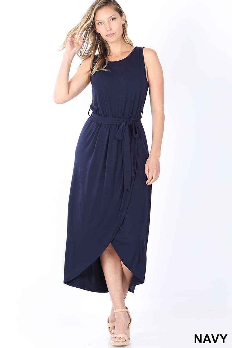 Zenana Belted Sleeveless Tulip Dress