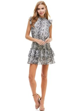 TCEC Snake Skin Ruffle Trim Dress