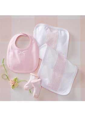 Mud Pie Pink Burb Bib and Sock Set