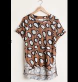 Umgee Animal Print Short Sleeve Round Neck Top