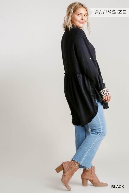 CloudWalk Animal Print Button Front and Tab Tunic