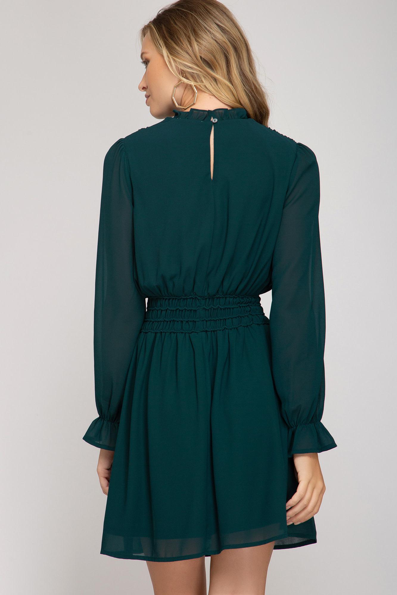 She + Sky Long Sleeve Smocked Dress