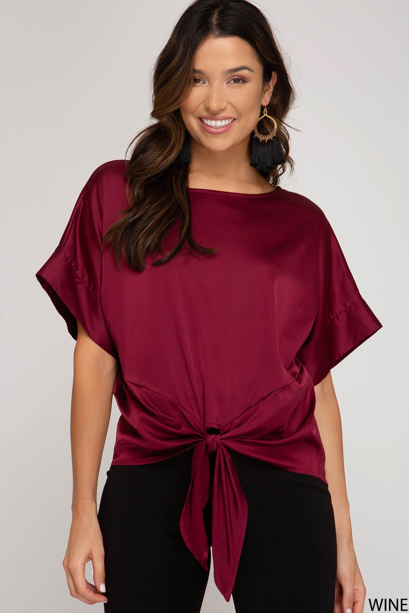 She + Sky Kimono Sleeve Satin Top