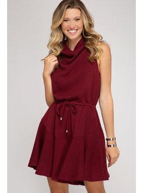 She + Sky Rib Knit Cowl Neck Dress
