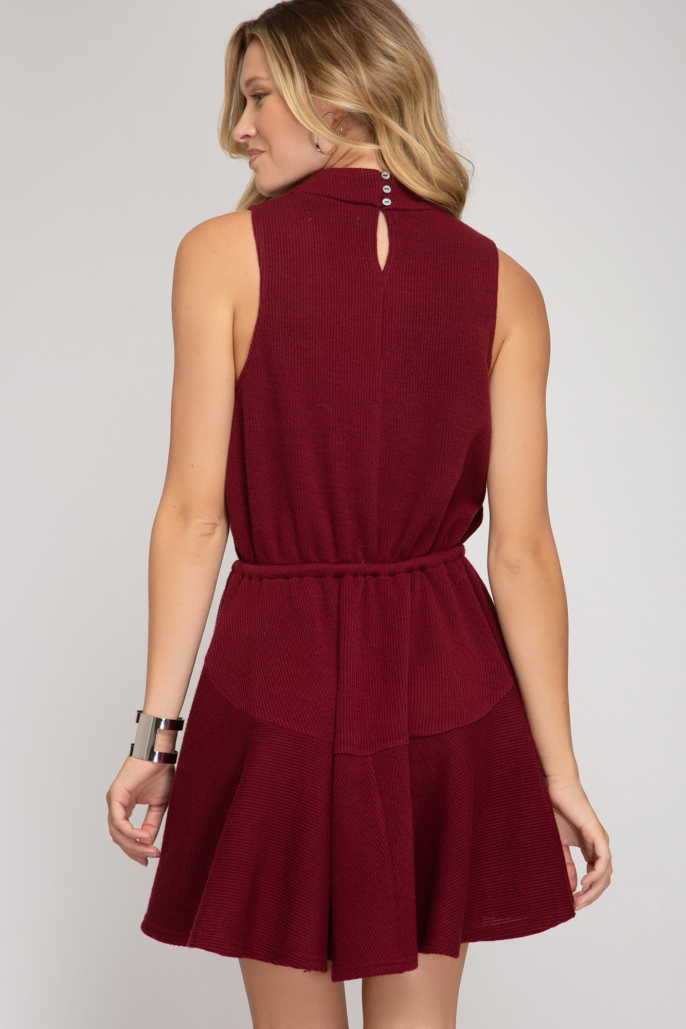 She + Sky Rib Knit Cowl Neck Dress