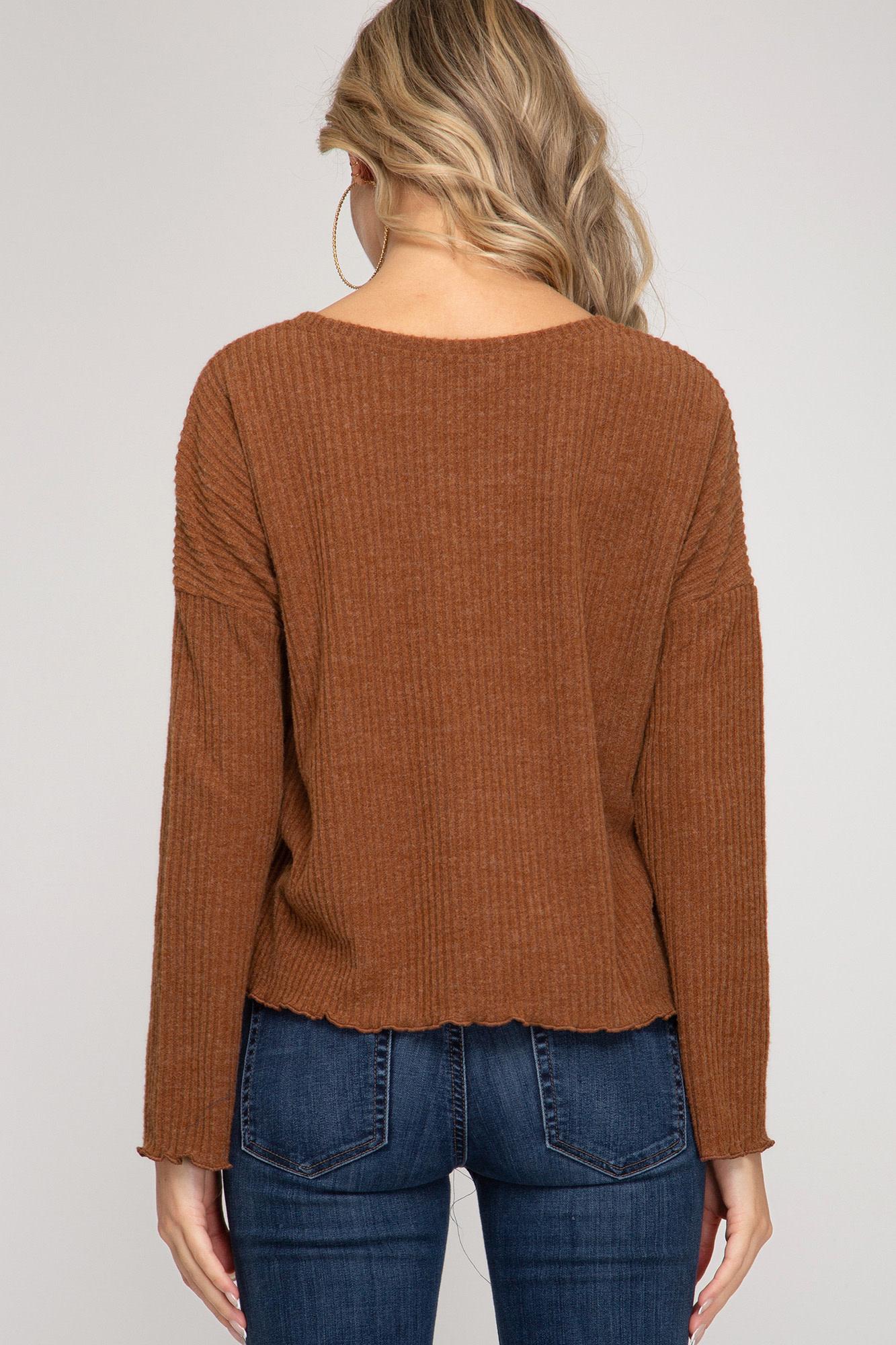 She + Sky Long Sleeve Rib Knit Top